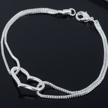 925 Sterling Silver Heart Love Bracelet Silver Chain Lady Women Jewelry Newest = 1946286532