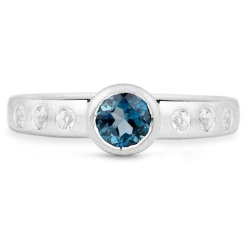 LoveHuang 0.76 Carats Genuine London Blue Topaz and White Topaz Matte Finish Ring Solid .925 Sterling Silver With Rhodium Plating