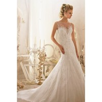 Elegant Boat Neck Sleeveless Taffeta and Lace Halter Wedding Dress