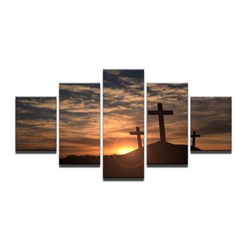 5 Pcs Panel Piece Mountain Cross Sunset Landscape Wall Art Decor Picture Print