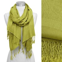 HauteChicWebstore Silk Blend Solid Paisley Jacquard Pashmina in Lime Green - www.shophcw.com