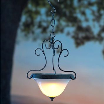 Solar Hanging Lantern With Scrollwork Design