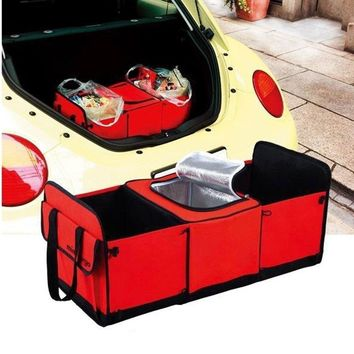 1 Pc Car / Truck / Van / SUV Trunk Collapsible Storage Basket Organizer With Insulated Cooler