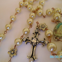 Rosary Flowers Beautiful Cross VIrgin Mary Pearls - Cream Color - Summer - Church - Ready To Ship