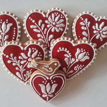 Dozen gingerbread  Valentine's day cookies with decorative motives