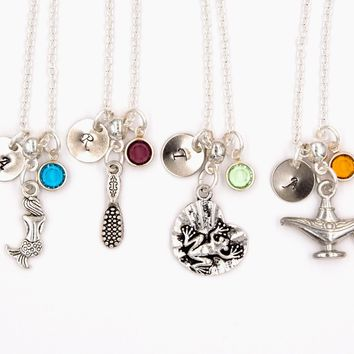 Fairy Tale Charm Necklace Personalized with Birthstone and Hand Stamped Initial (Aladdin, The Frog Princess, Rapunzel or The Little Mermaid)
