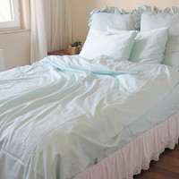 Solid Pale blue or Pink Twin XL-Full-Queen-King duvet cover/doona cover/quilt cover bed pillowcases by Nurdanceyiz-college dorm room bedding