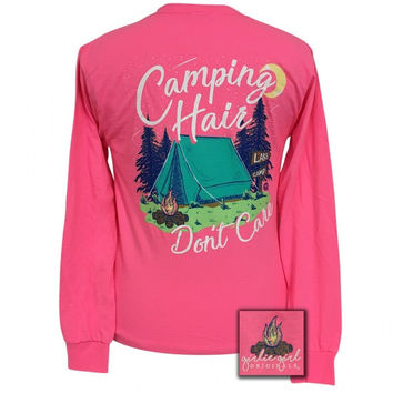 Girlie Girl Preppy Camping Hair Dont Care Long Sleeve T-Shirt