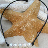 Pearl and Leather Choker...FREE SHIPPING to US