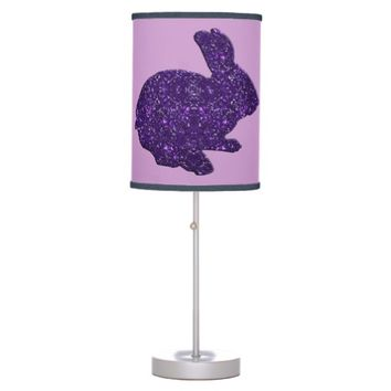 Purple Glitter Silhouette Easter Bunny Desk Lamp