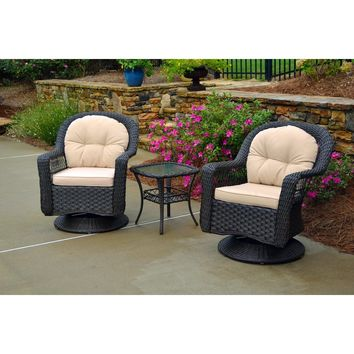 Tortuga Outdoor Biloxi 3Pc Bistro Set (2 swivel chairs, bistro table)