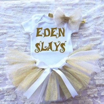 PERSONALIZED SLAY NEWBORN TUTU SET