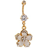 Sparkle Flower 14k Gold Plated Dangle Belly Ring