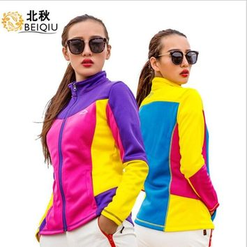 2018 Women Softshell Jacket Spring Coat Windproof Camping Riding Climbing Thicken Running Sport Clothing Outdoor Female Wear