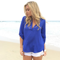 Beyond Sweet Blouse In Royal Blue