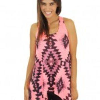 Pink And Black Aztec Tank Top