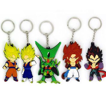 2017 new dragon ball in action  figure dragon ball set double PVC soft rubber   keychain  for children christmas gift toys