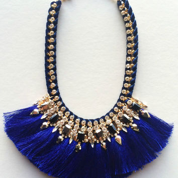 Royal Blue Tassels Statement Necklace