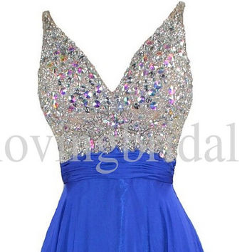 Unique Sequined Prom dress Shinning Crystal Prom Dresses Royal Blue Party Dresses 2014 Formal Party Evening Dresses Homecoming Dresses