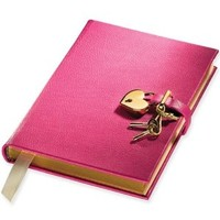 Genuine Leather Heart Lock Diary, Working Key and Lock, Pink, 8""
