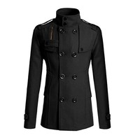 New Arrival Men's Fashion Slim Long Trench Coat Windbreaker Lapel Button Jacket Outwear