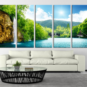 Large Art Print -  Waterfalls in Forest Canvas Prints  - Waterfalls Landscape Large Art Canvas Printing - Extra Large Canvas Wall Art Print