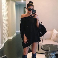 2016 Trending Fashion Women Off Shoulder Boatline Neck Ripped Sexy Pullover Sweatshirt Blouse Shirt Top  _ 8631