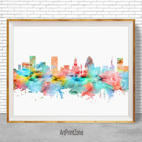 Baltimore Art Print Baltimore Skyline Baltimore Maryland Office Decor, Office Art, Watercolor Skyline, Watercolor City Posters, ArtPrintZone