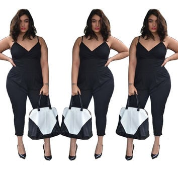 Elegant Jumpsuit Women Plus Size XXXXL Bodysuit Design Sexy Solid Sleeveless summer new arrive V-Neck Gallus Rompers Body b2