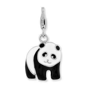 Sterling Silver Enameled Panda Bear W/lobster Clasp Charm