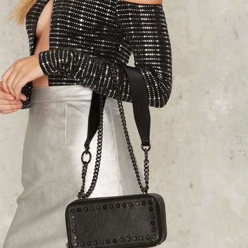 Nasty Gal Suspect Vegan Leather Crossbody Bag - Onyx