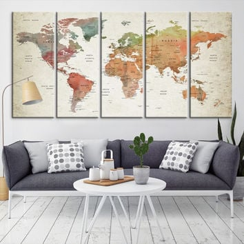 52953 - Large Wall Art World Map Canvas Print- Custom World Map Push Pin Wall Art- Custom World Map Canvas Poster Print- Personalized Wall Art