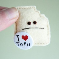 Irked Tofu Pincushion by buttonarcade on Etsy