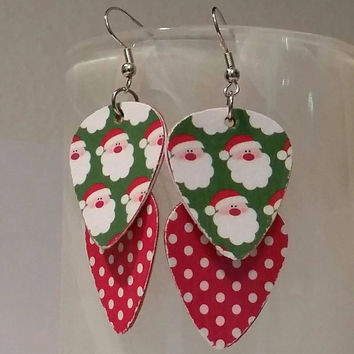 Christmas Jewelry - Guitar Pick Jewelry by Betsy's Jewelry - Earrings - Santa Claus - Holiday - Upcycled Jewelry