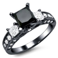 2.35ct Black Princess Cut 3 Stone Diamond Engagement Ring 14k Black Gold Rhodium Plating Over White Gold