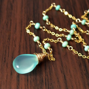 NEW Chrysoprase Necklace, Aqua Chalcedony Pendant, Smooth Gemstone, Mint Green, Wire Wrapped, Sterling Silver or Gold Jewelry, Free Shipping