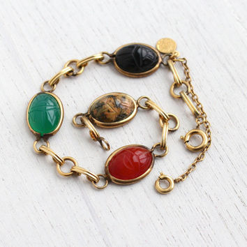 Vintage Scarab Bracelet - 12K Yellow Gold Filled Semi Precious Stone Egyptian Revival Signed D'or Jewelry / Carnelian, Onyx Beetles