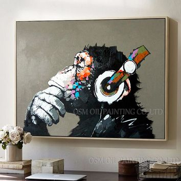 Top Artist Pure Hand-painted High Quality Modern Art Gorilla Oil Painting on Canvas Abstract Funny Animal Monkey Oil Painting