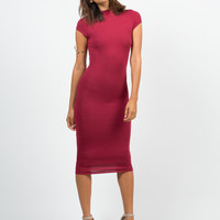 Mock Neck Basic Midi Dress - Burgundy