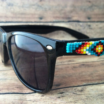 Black Frame Native American Beaded Sunglasses