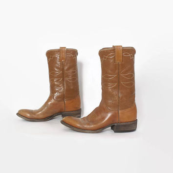 Vintage 60s Western BOOTS / 1960s Justin Brown Leather Cowboy Boots Womens 8 1/2 Men's 7