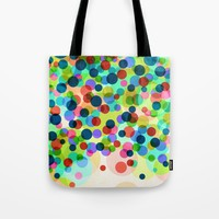 Happy Rainbow Confetti Tote Bag by Miss L In Art