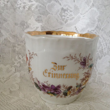 Antique Carl Tielsch Bur Erinnerung Porcelain Cup Altwasser Silesia Germany 1875-1900 Eagle Backstamp Numbered