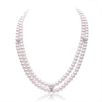 iVeeka 100% Natural Pearls Jewelry 2 Strands Choker Necklaces Women Wedding Fine Jewelry Near Round Freshwater Pearls Perfect