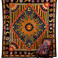 Celestial Tapestry, Sun Moon Mandala Hippie Tapestry, Hippie Mandala Wall Hanging, Indian Bedspread Bed Sheet Cover Throw, Bohemian tapestry