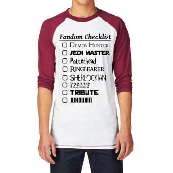 Potterhead, Sherlock, Supernatural, Dr. Who, LOTR Fandom Checkist Unisex Baseball Shirt