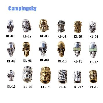 CAMPINGSKY Charm Metal Skull For Paracord Knife Lanyards Pack Paracord zinc alloy Buckle For Paracord Bracelet Steel skull beads