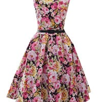 Black Floral Print Sleeveless Skater Dress