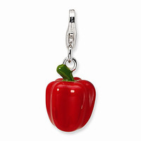 925 Sterling Silver 3D Enameled Red Bell Pepper Dangling Charm