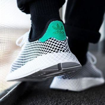 Adidas New Fashion Deerupt Running Shoes Runner Trifolium Mesh Sneakers White Surface With Green Tail